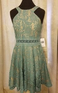 Jodi Kristopher NWT lace seafoam dress, size 9